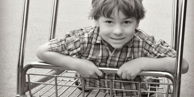 boy with plaid shirt
